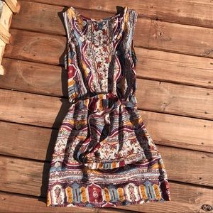 Lucky brand 100% silk Moroccan print dress